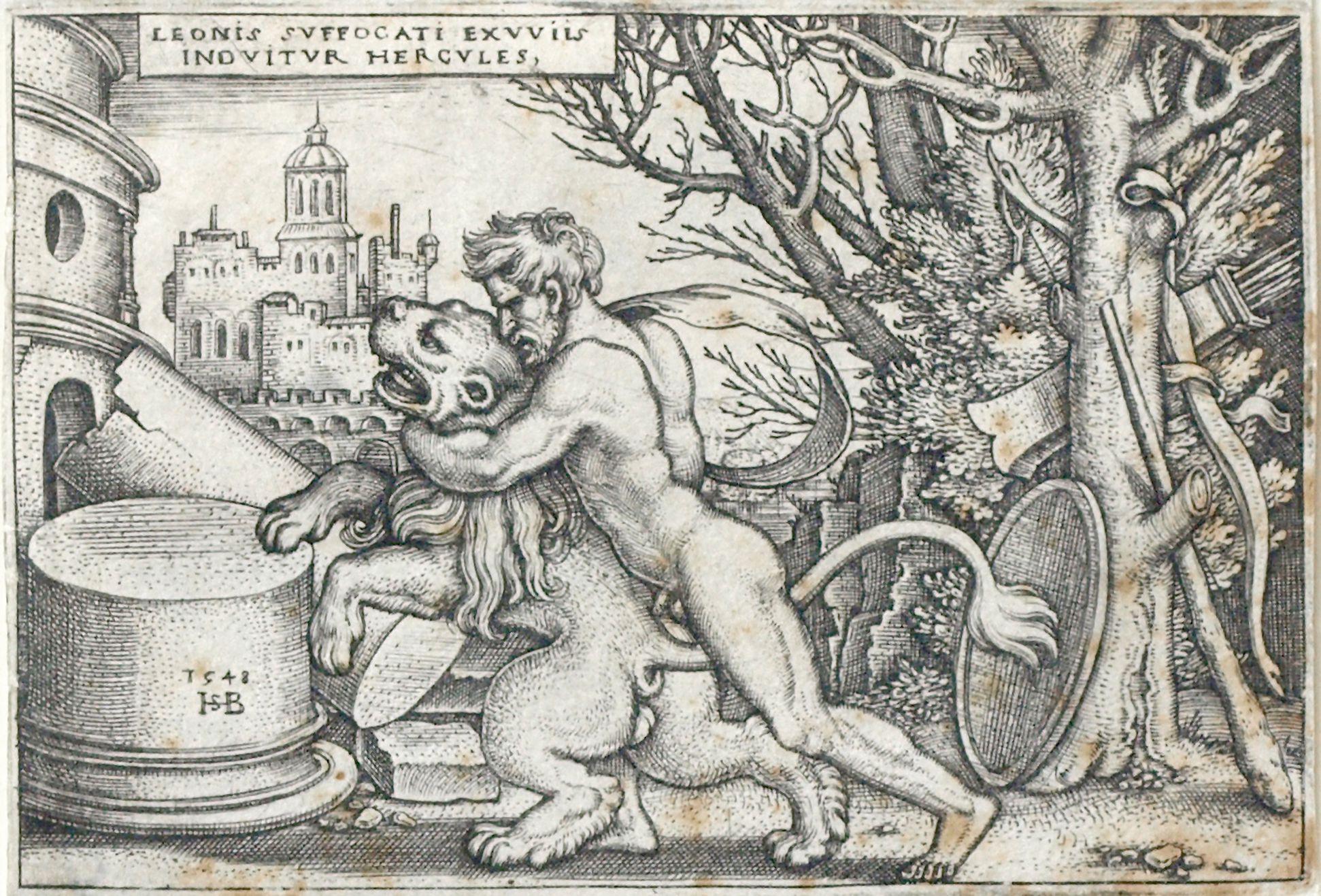 Die Taten des Hercules Hercules erwürgt den Nemeischen Löwen, 1548, 52 x 77 mm