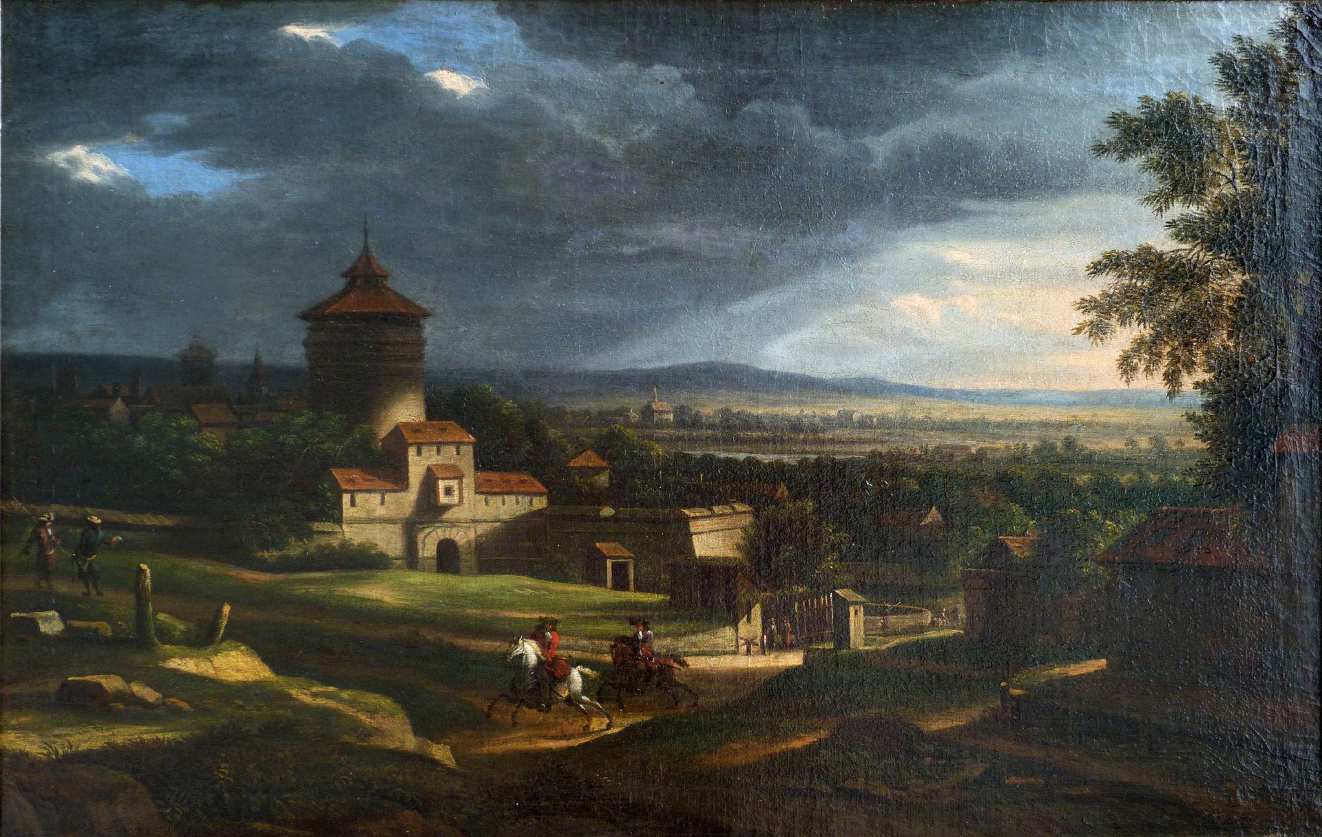 Neutor mit Bastei, im Vordergrund zwei Reiter Gesamtansicht