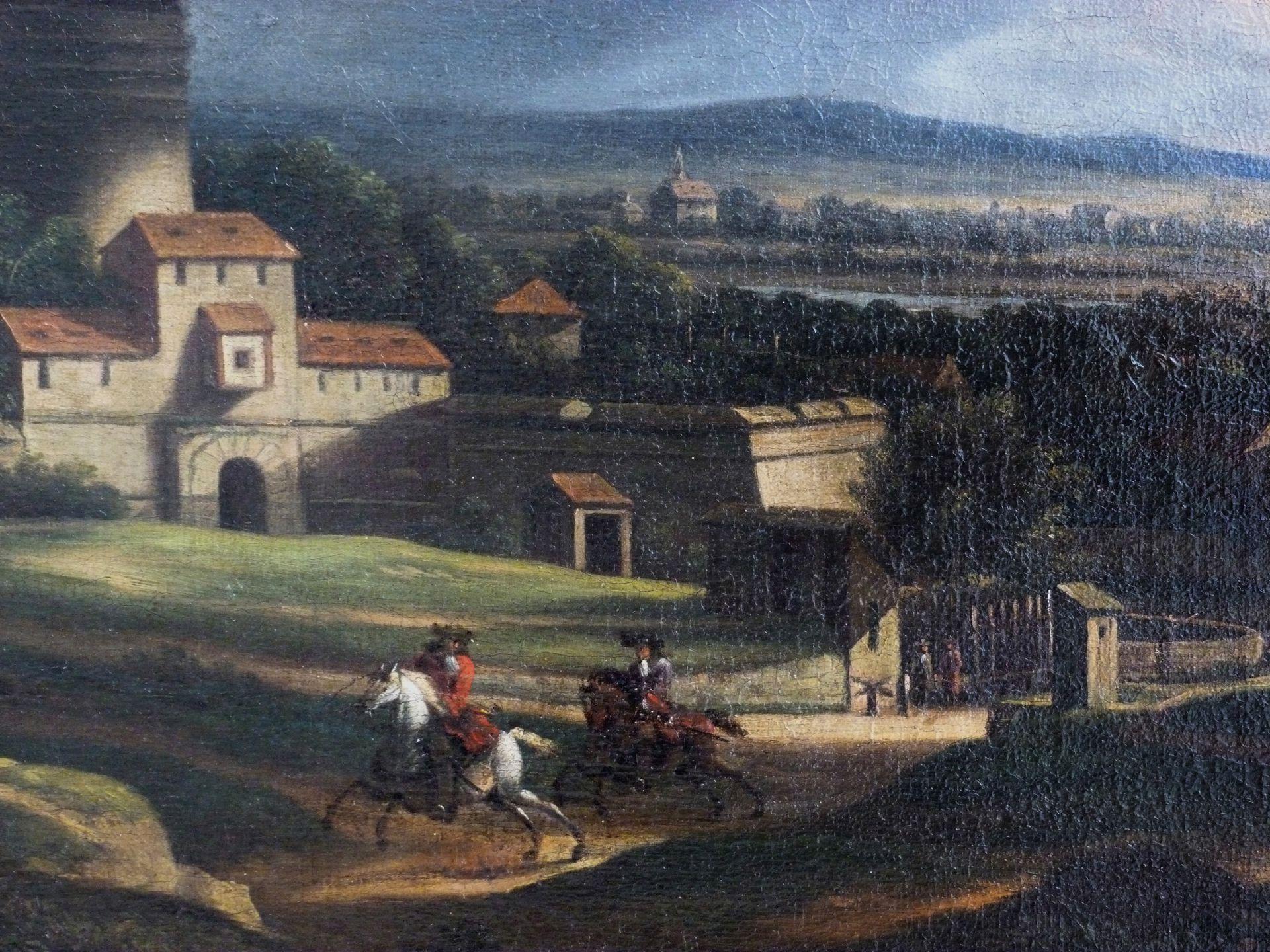 Neutor mit Bastei, im Vordergrund zwei Reiter Reiter im Vordergrund