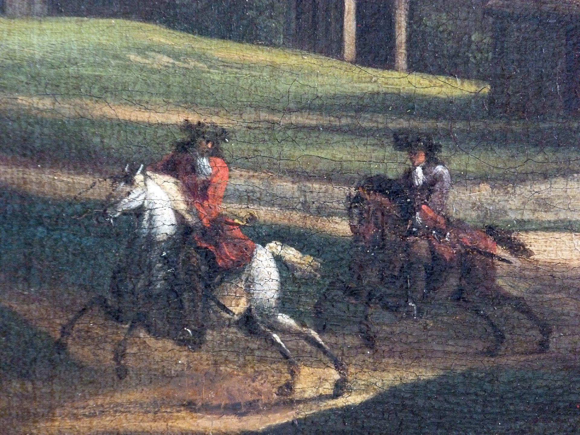 Neutor mit Bastei, im Vordergrund zwei Reiter Reiter