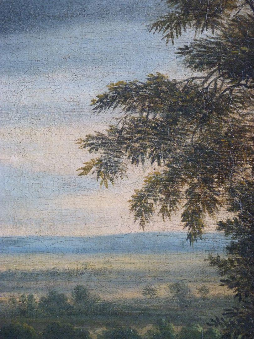Neutor mit Bastei, im Vordergrund zwei Reiter Landschaftsdetail
