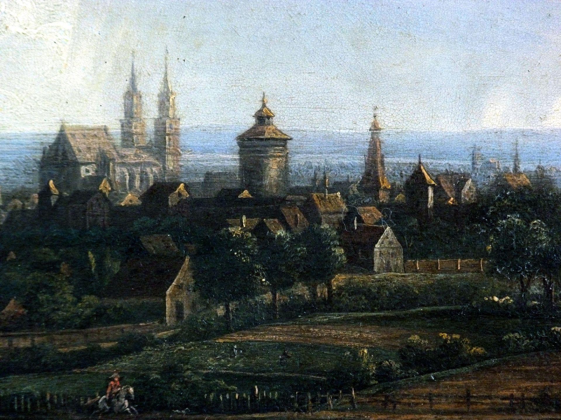 Blick auf die Stadt von Nordosten Detail mit St. Lorenz