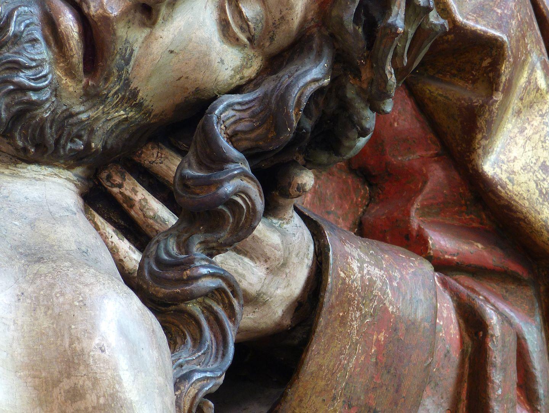 Große Pietà Haupt Jesu und linke Hand von Johannes, Detail