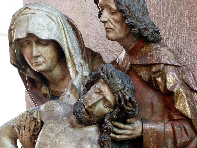 Große Pietà Jesus, Maria und Johannes, Detail