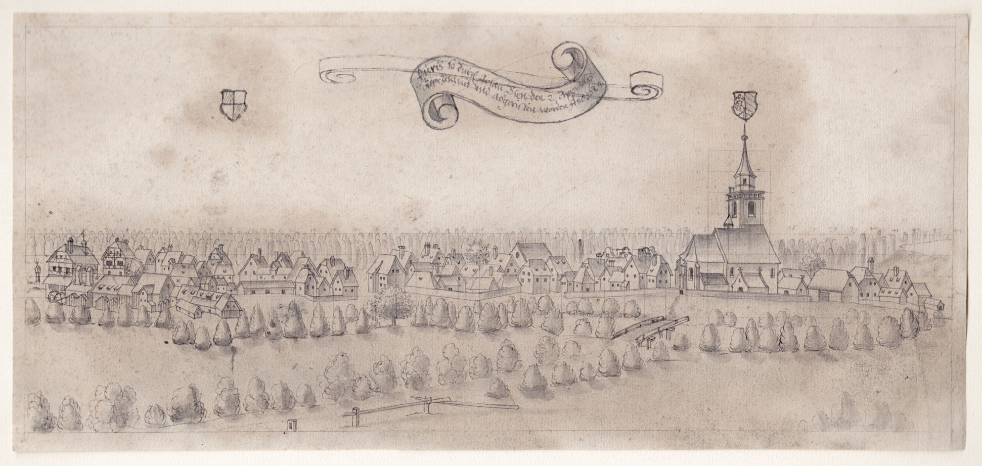 Blick auf Fürth Gesamt (die Zeichnung wurde von Norden aus gemacht)