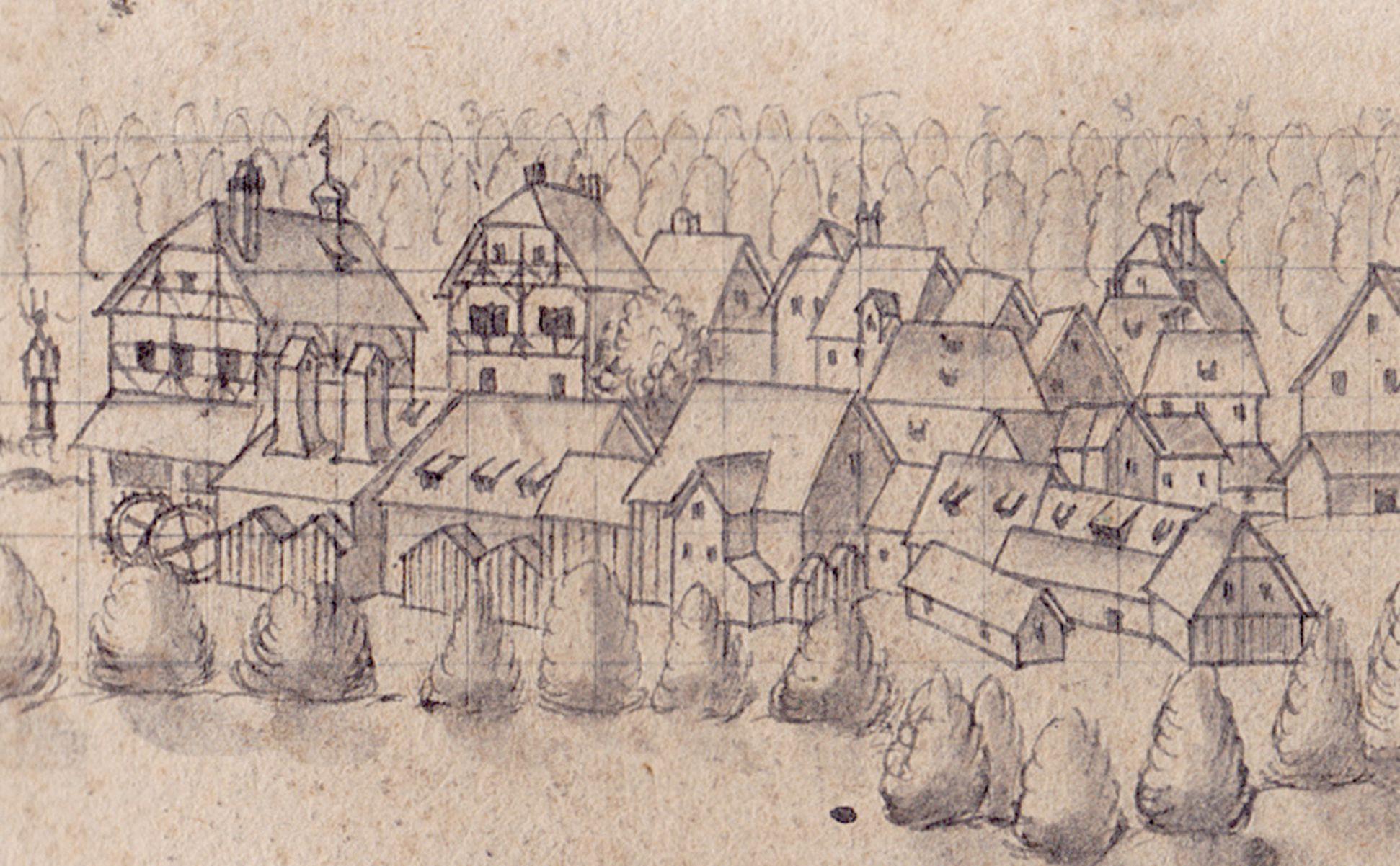 Blick auf Fürth Pegnitzmühlen und Häuser