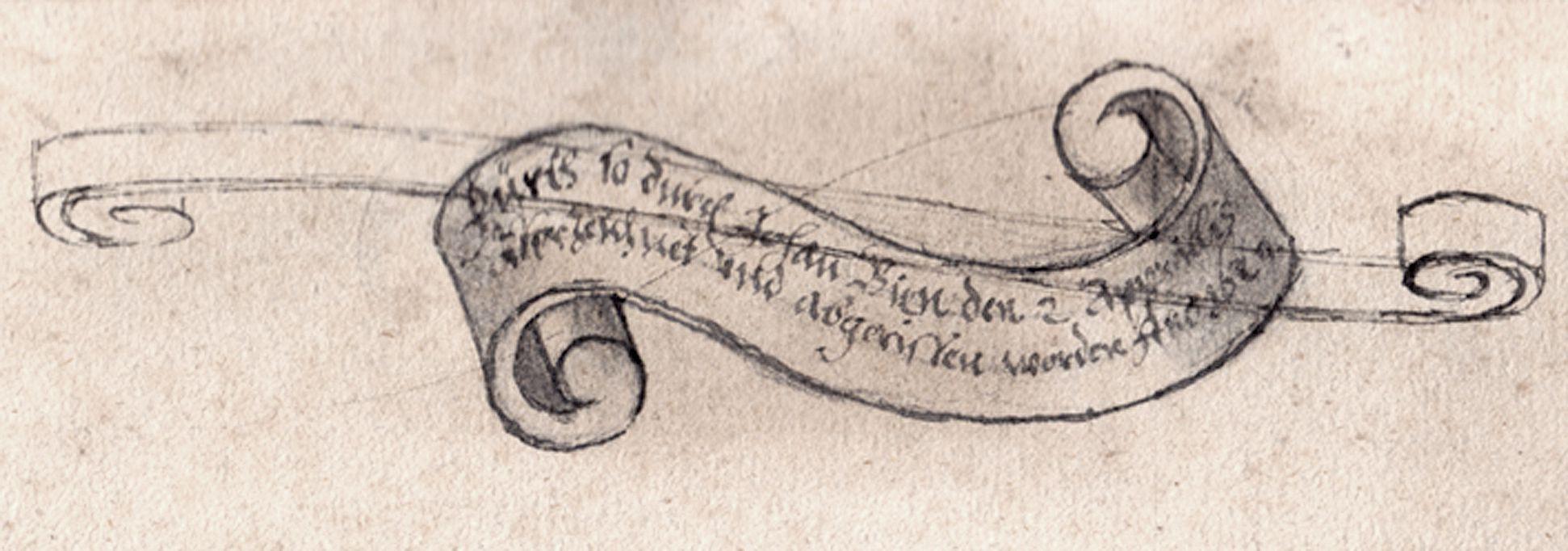 Blick auf Fürth korrigierte Filakterie mit Meisterinschrift