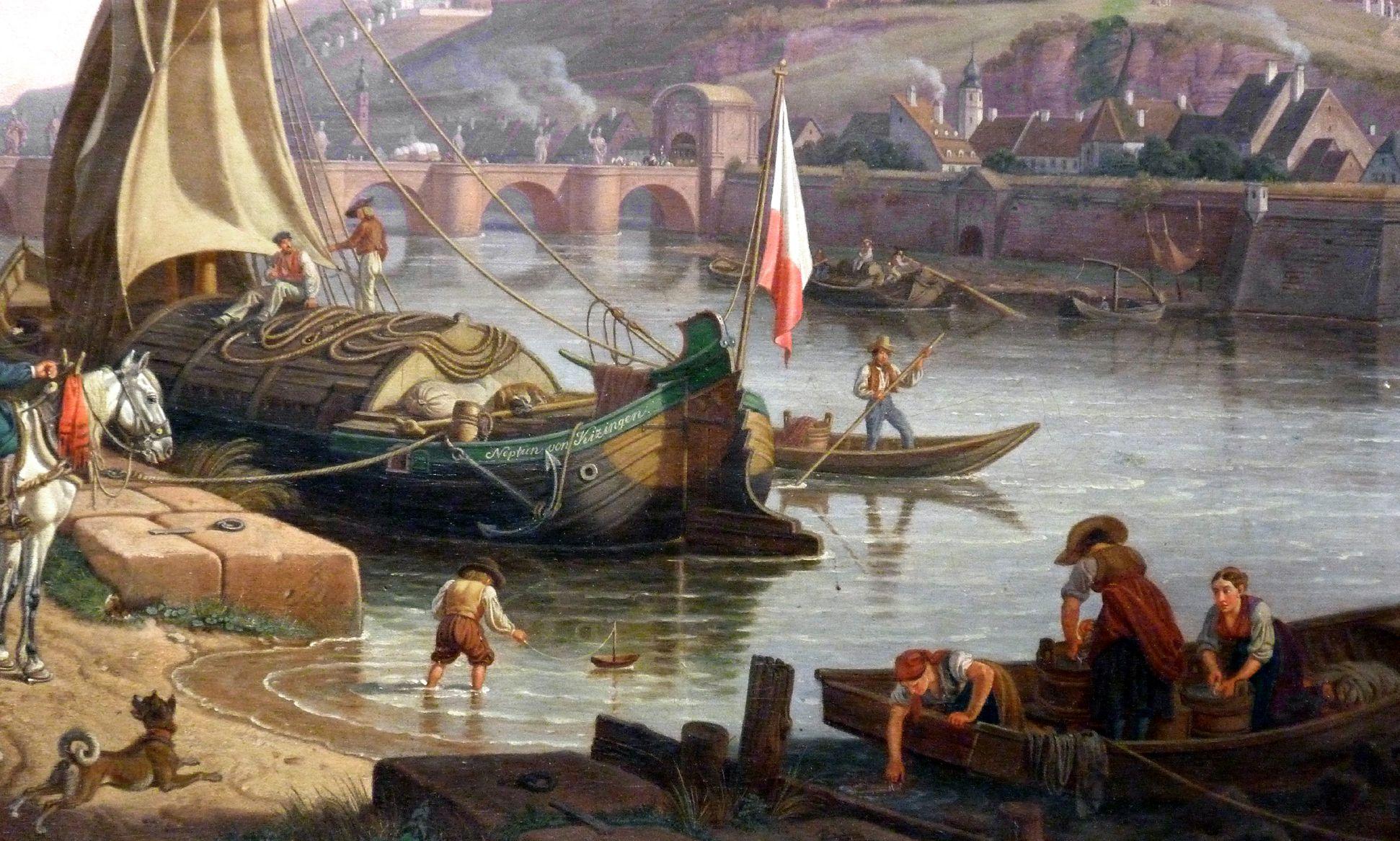 Blick auf Würzburg mit der Festung Marienberg Alltagsszene am Fluss