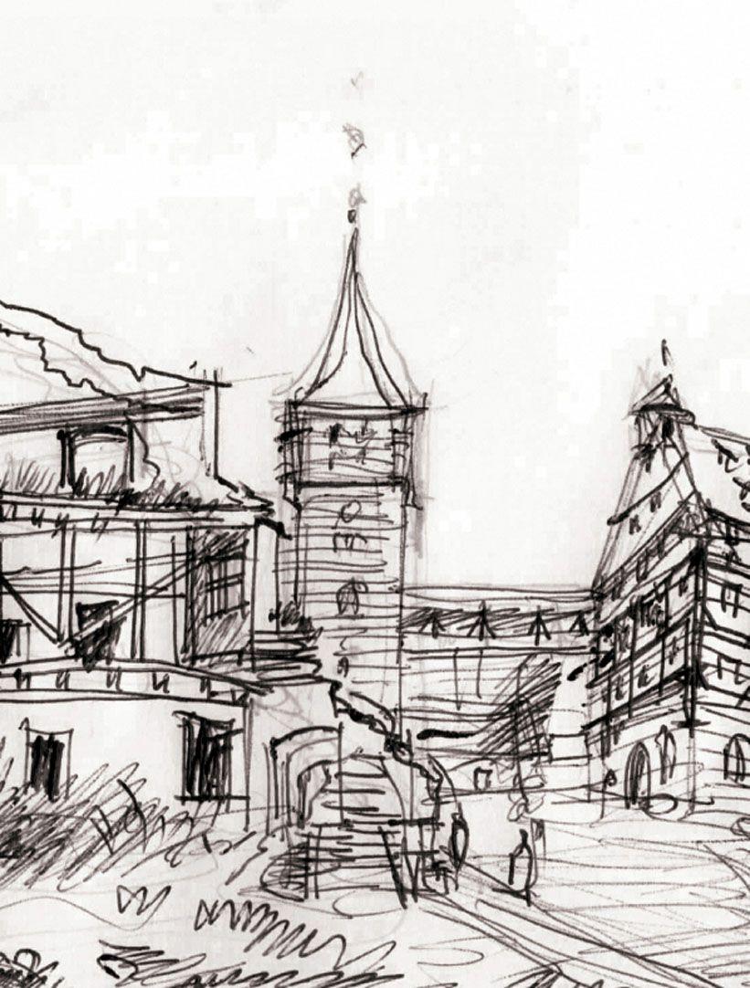 Blick zum Tiergärtnertorturm Detailansicht mit Ruine, Tiergärtnertorturm und Pilatushaus