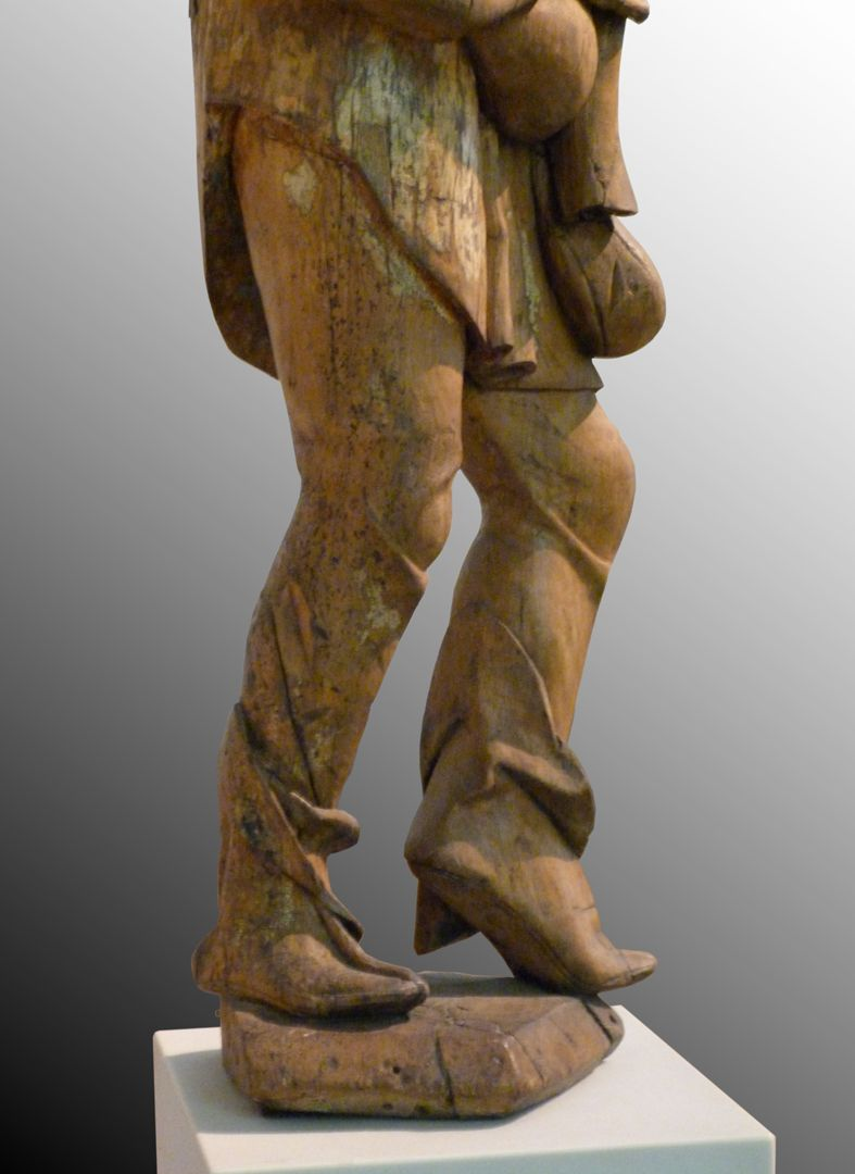 Dudelsackspieler Beine, seitliche Ansicht von links