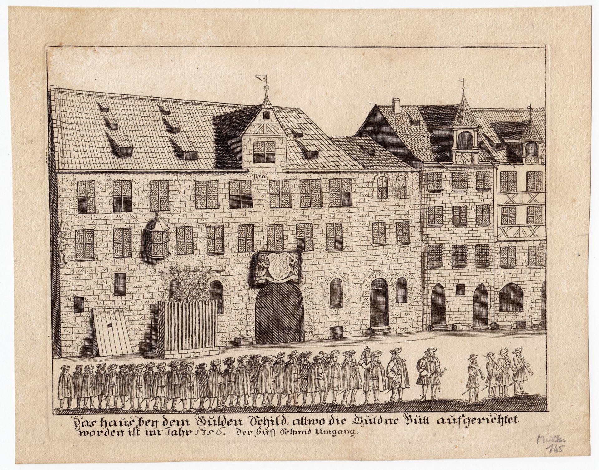 """""""Das Haus bey dem Gulden Schild, (...)"""" Gesamtansicht"""