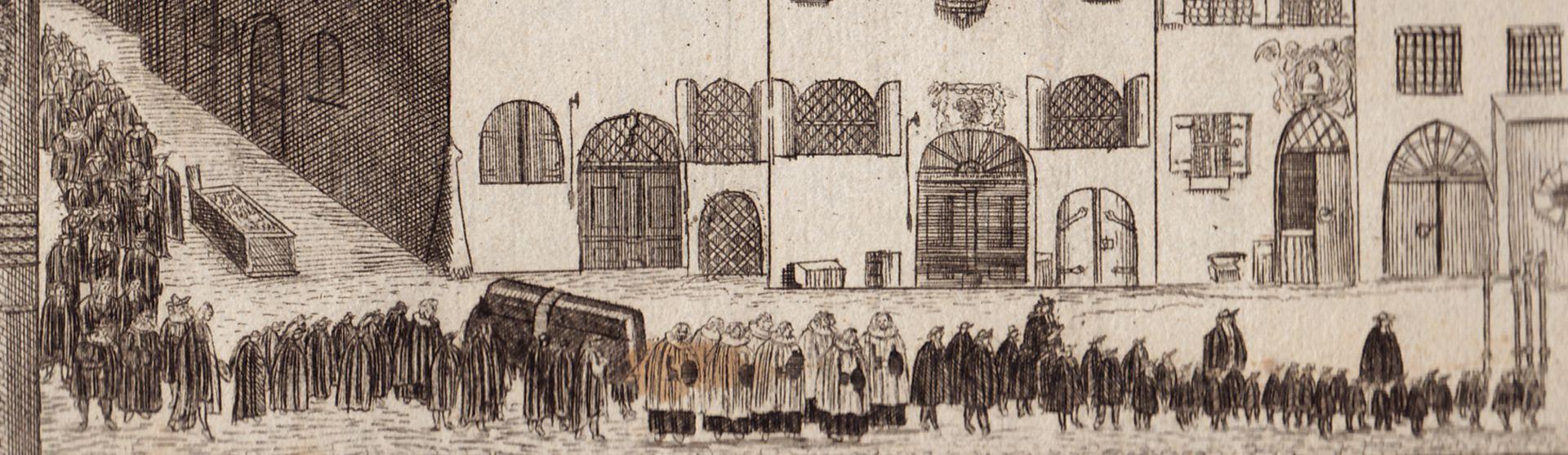 """""""Prospect vom Roßmarkt gegen die Barfüßerbrücken (...)"""" Leichenzug"""