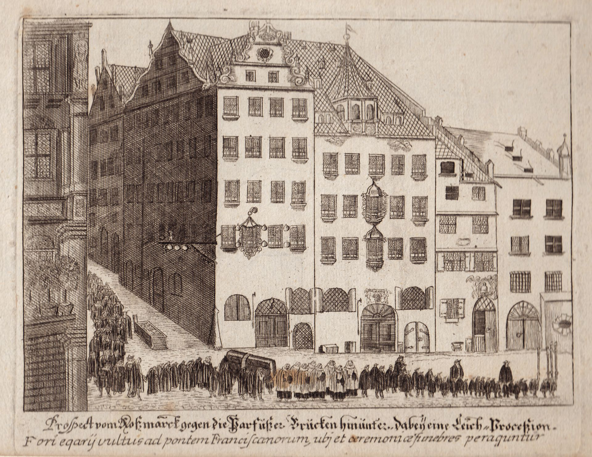"""""""Prospect vom Roßmarkt gegen die Barfüßerbrücken (...)"""" Gesamtansicht"""