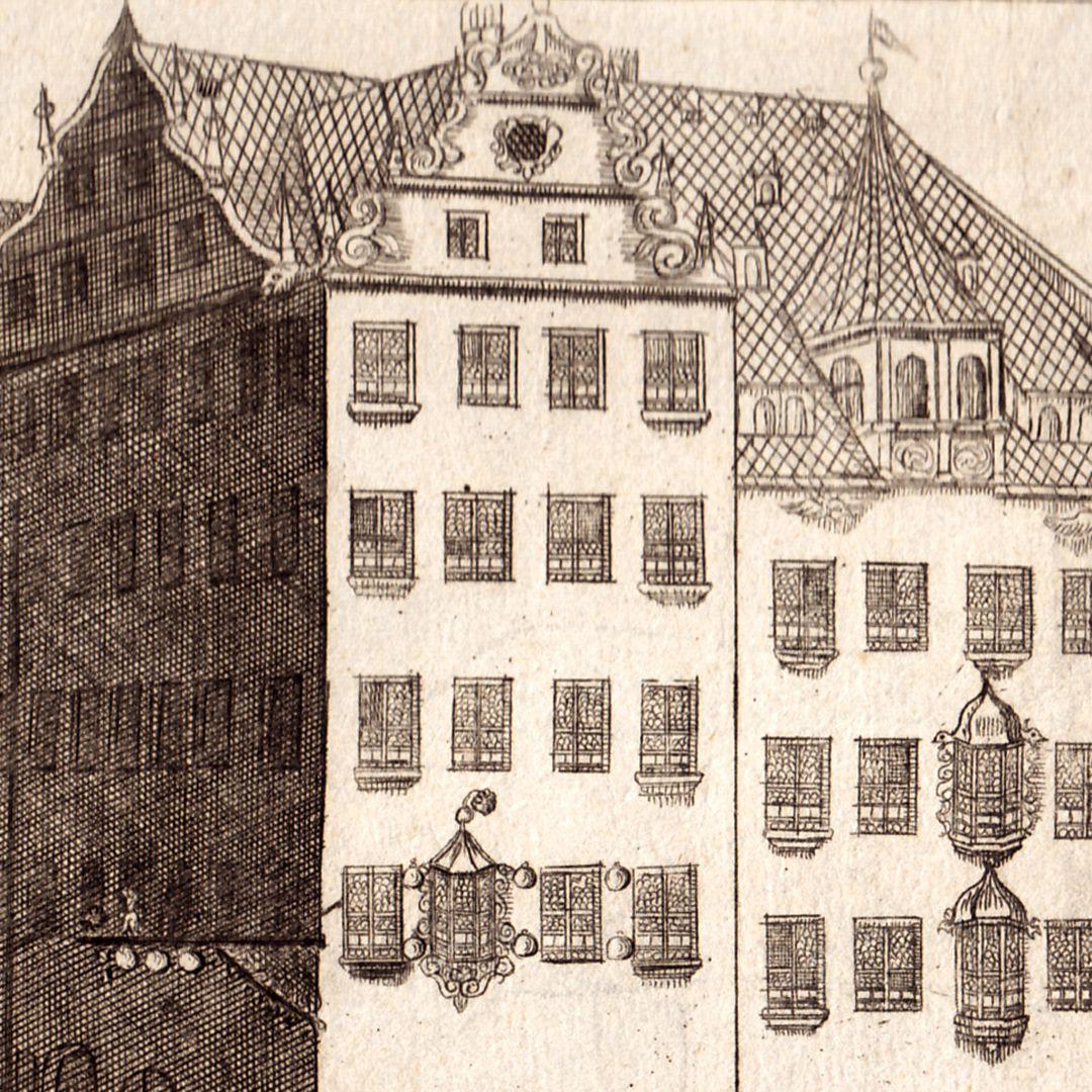 """""""Prospect vom Roßmarkt gegen die Barfüßerbrücken (...)"""" Detail"""