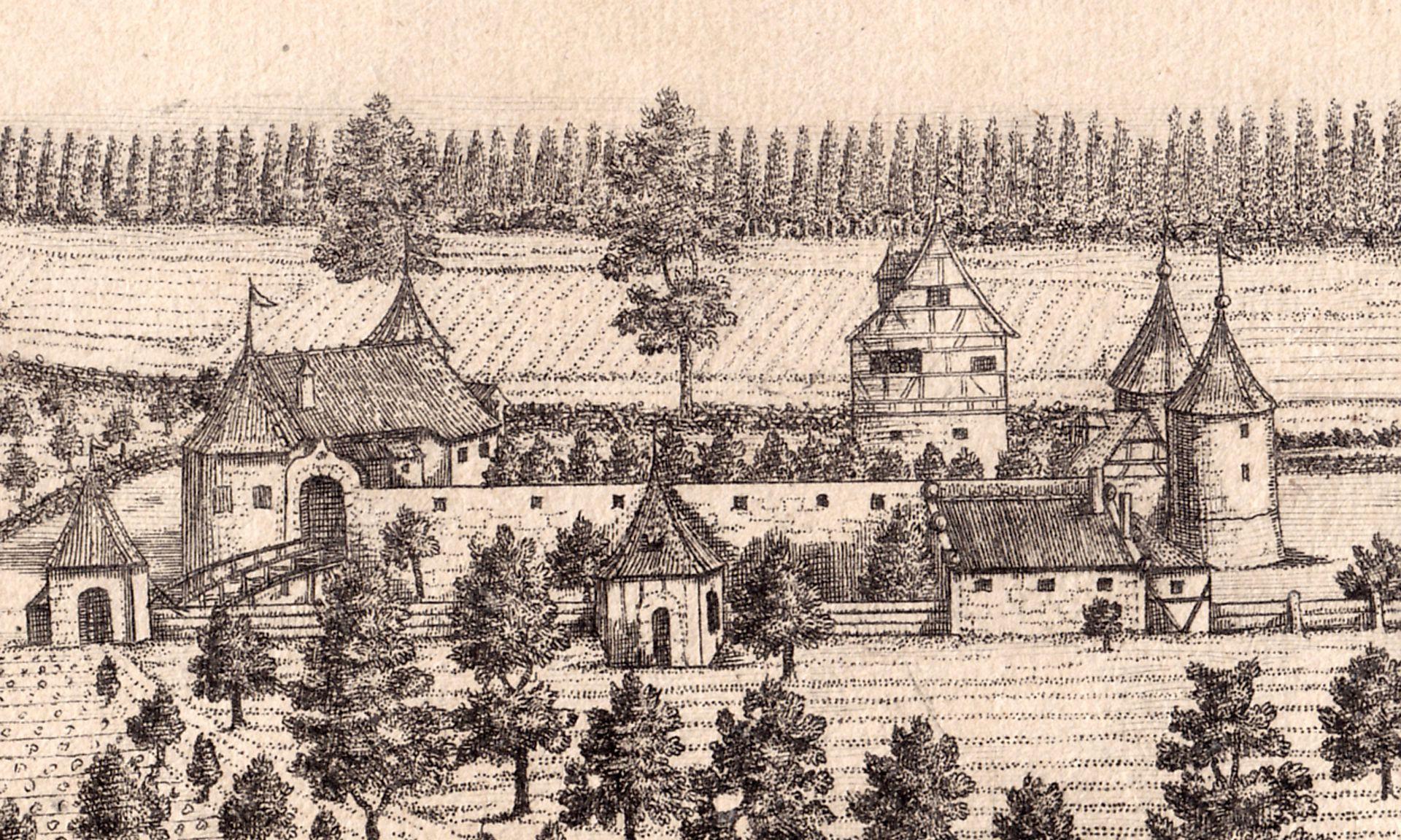 """""""Der innere Theil des Hummelsteins eine 1/4 St. von Nürnberg"""" Detail mit Schloß"""