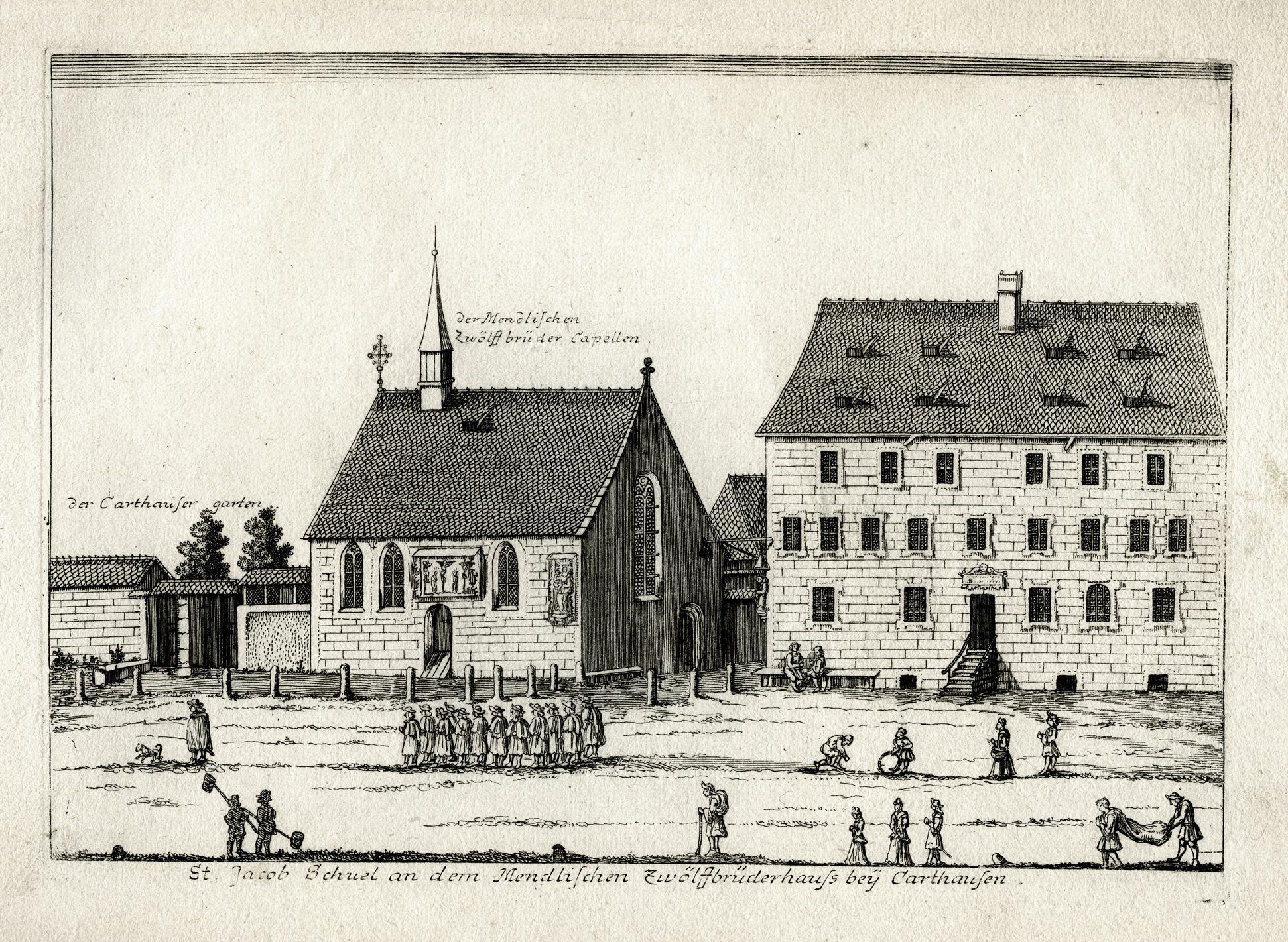 St. Jacob Schuel an dem Mendlischen Zwölfbrüderhauss beÿ Carthausen Gesamtansicht
