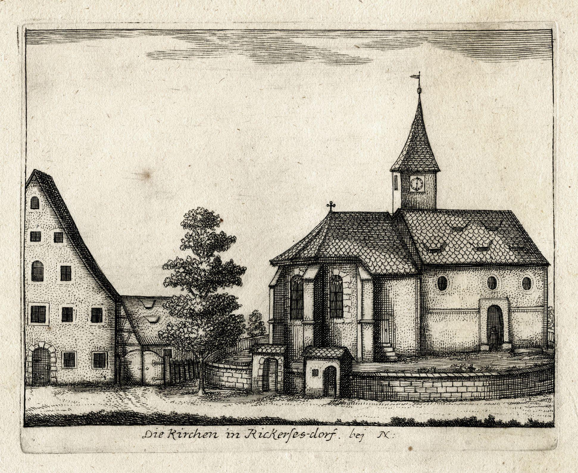 Die Kirchen in Rickerses-dorf.   bej  N: Gesamtansicht