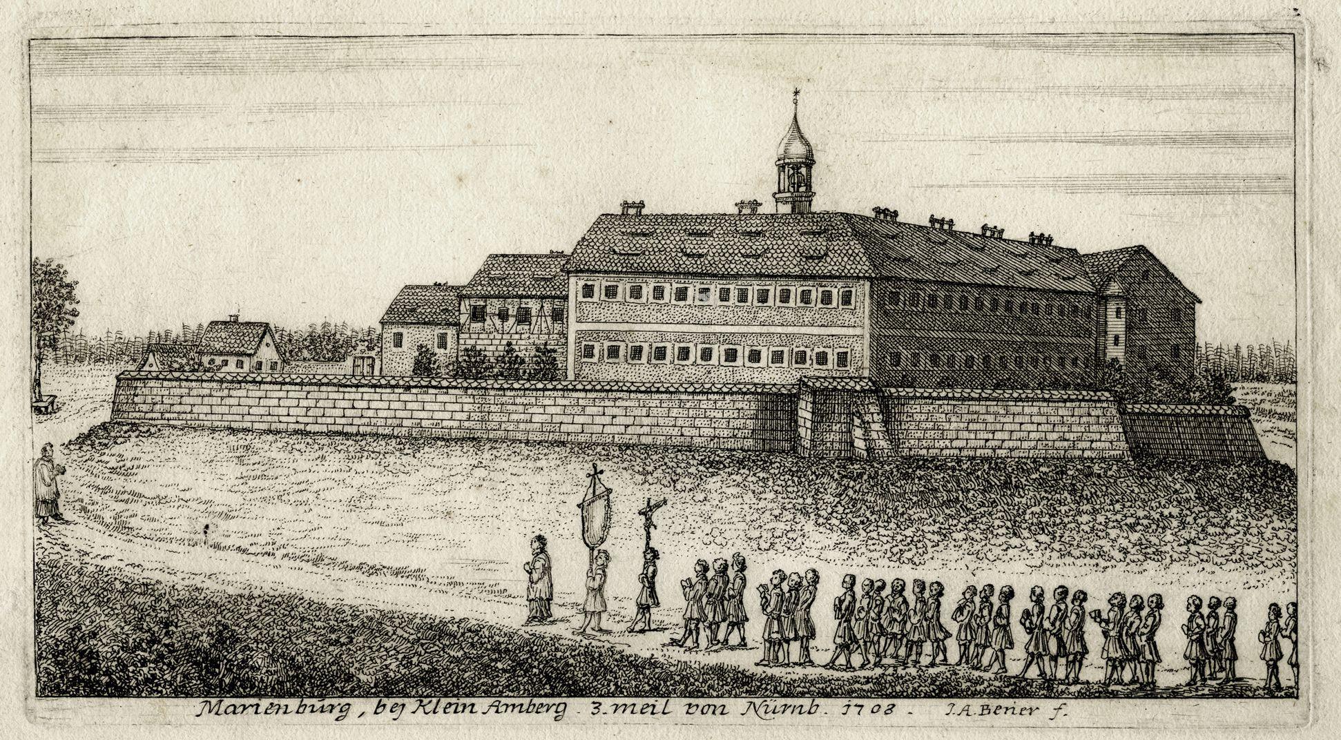 Marienburg, bej Klein Amberg.  3 meil von Nürnb. 1708 Gesamtansicht