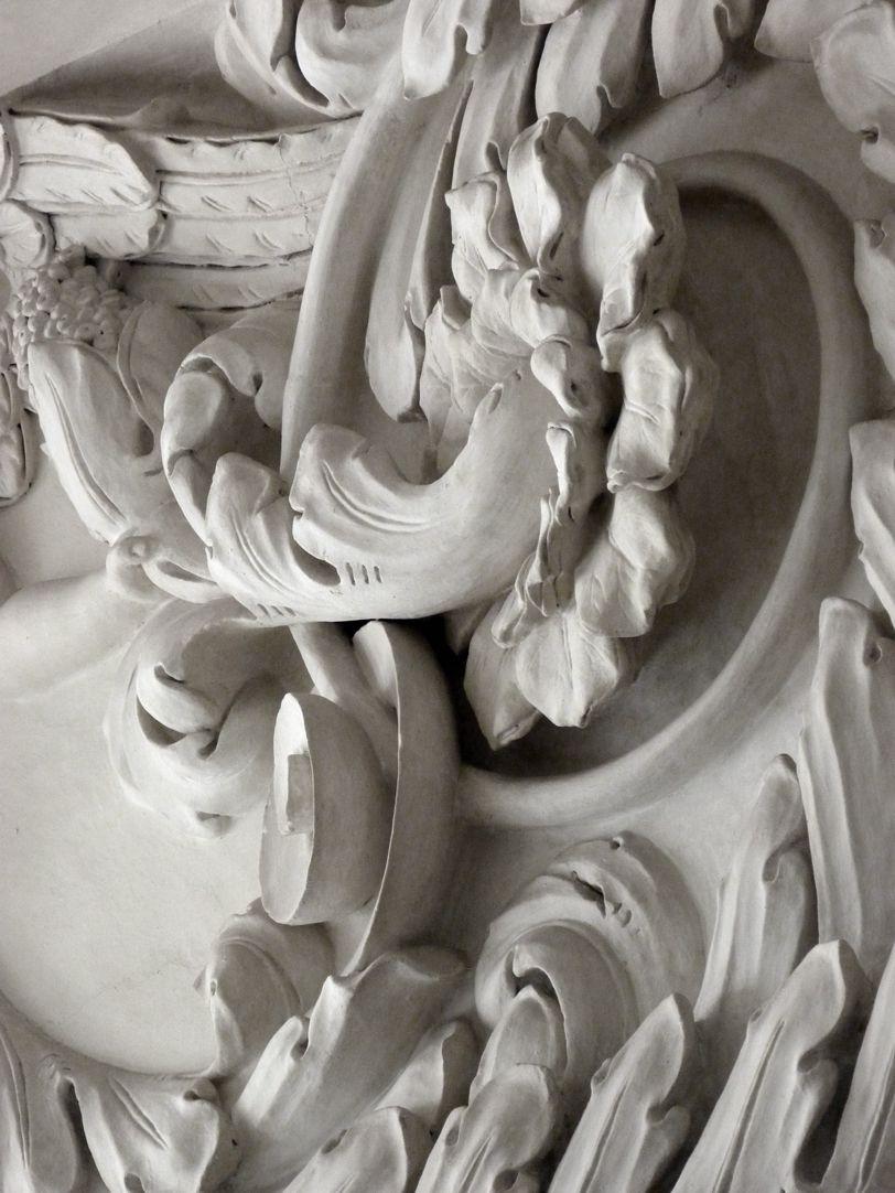 Stuckdecke im Fembohaus Akanthusfries, Detail
