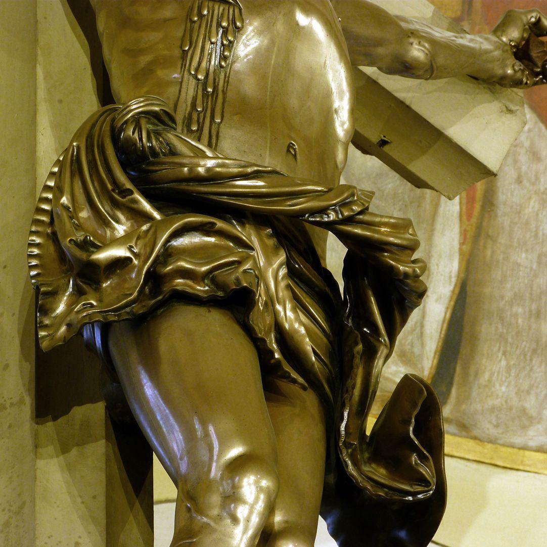 Kruzifix Lendentuch, Detail
