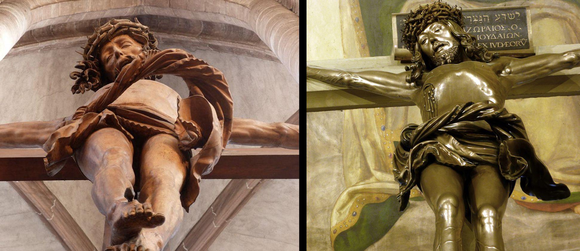 Kruzifix Gegenüberstellung mit dem Kruzifix (1520) von Veit Stoss in St. Sebald, Untersicht