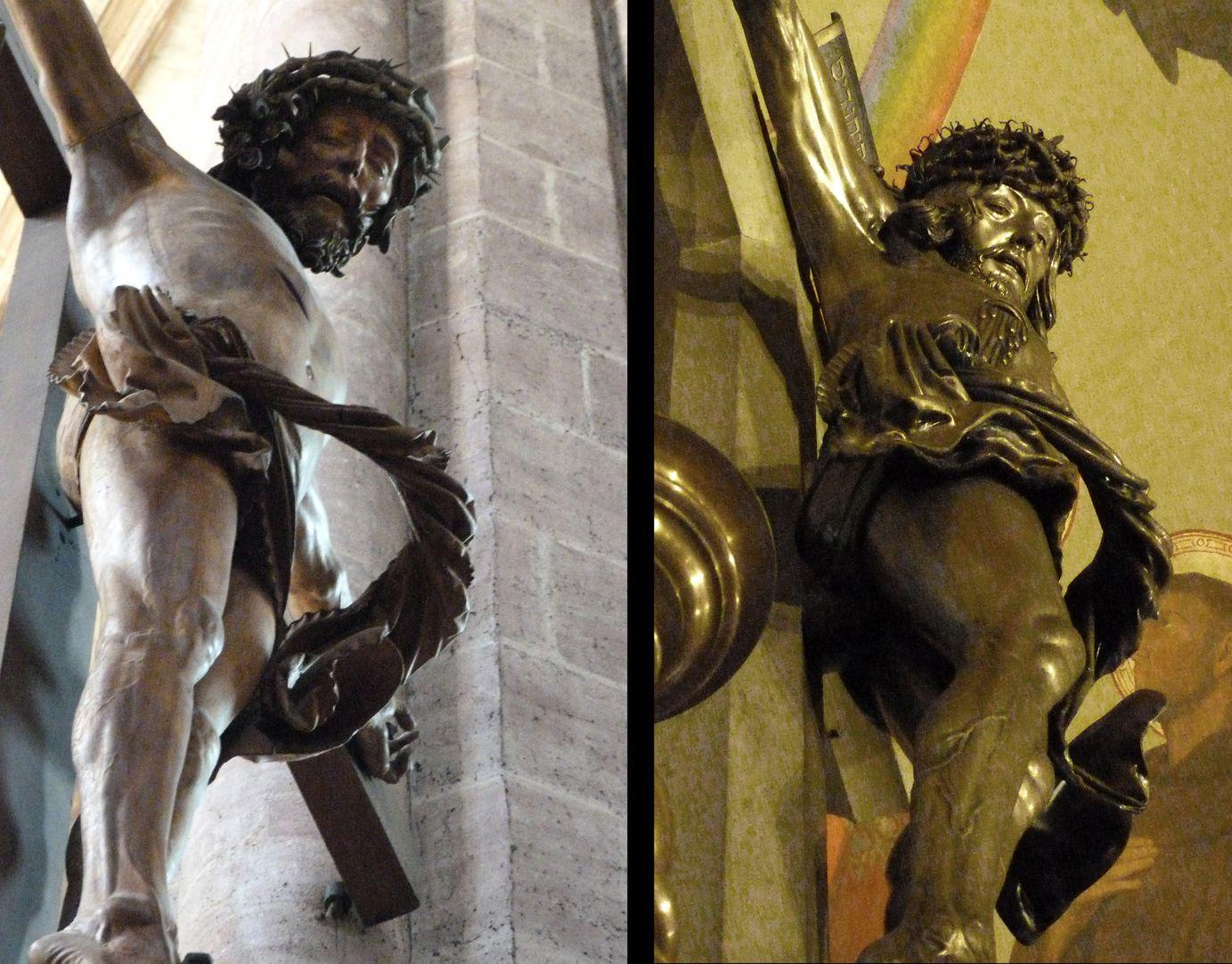 Kruzifix Gegenüberstellung mit dem Kruzifix (1520) von Veit Stoss in St. Sebald, schräge Untersicht mit fliegendem Lendentuch