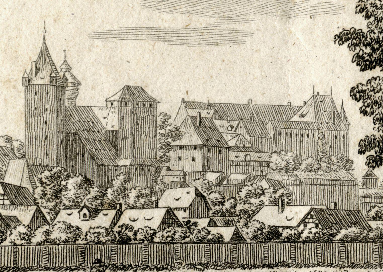 Die Burg zu Nürnberg, vom Judenbühl aus angesehen Ansicht der Burg von Nordost
