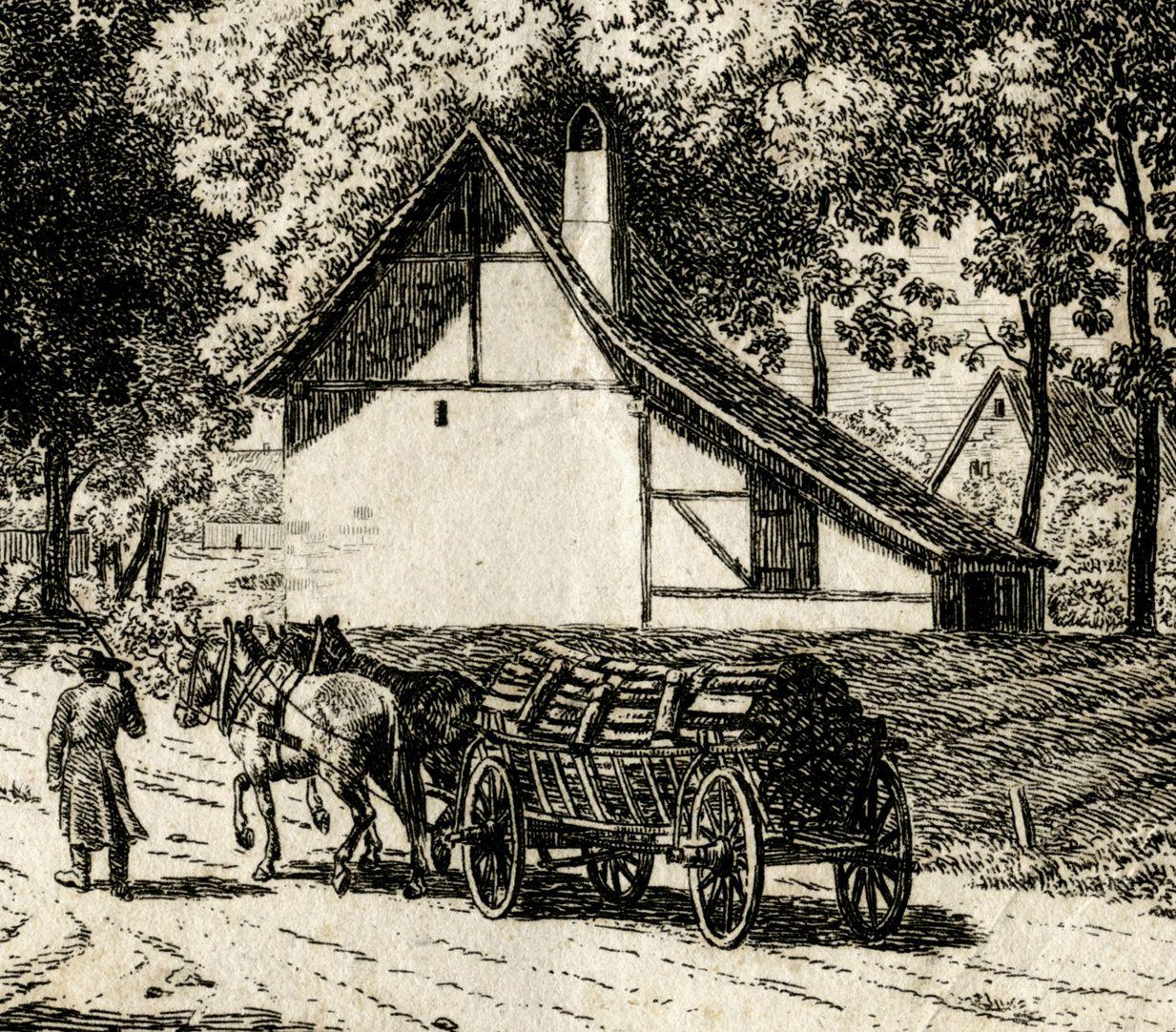 Die Burg zu Nürnberg, vom Judenbühl aus angesehen Detail mit Fuhrwerk und Haus