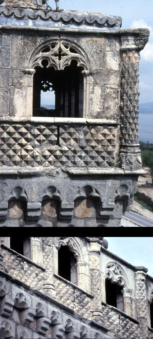 Modell einer Ritterburg Real de Manzanares, Loggia mit Kleeblattbögen und Diamanten, oben Ecksituation, unten Schrägansicht der Längsseite. Die Diamanten sind keine Italienrezeption (Ferrara ca. zehn Jahre später)