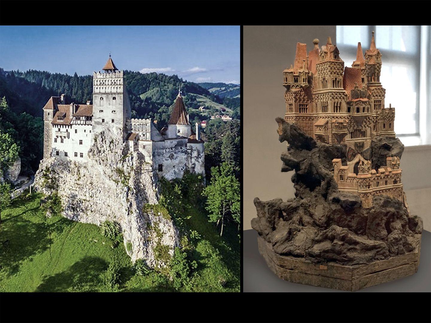 Modell einer Ritterburg So phantasievoll das Burgmodell erscheint, könnte die Felsensituation halbwegs realistisch sein (links Törzburg in Bran, Rumänien, rechts Modell)