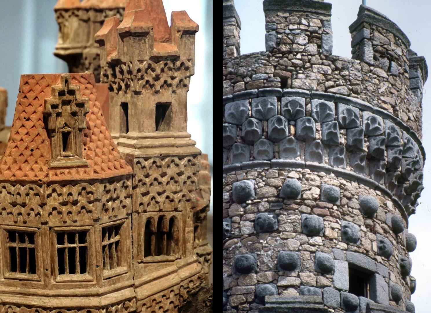 Modell einer Ritterburg Vergleich, Burgmodell und Turmdetail der Burg Real de Manzanares (nahe Madrid)