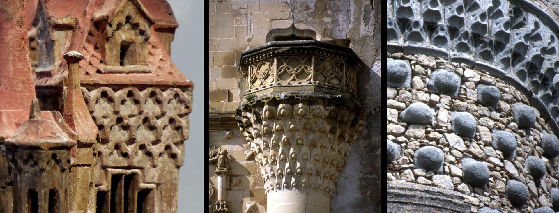 Modell einer Ritterburg Vergleich, Burgmodelldetail, Balkon des Stadtpalastes Jabalquinto in Baeza (dieser zeigt Muqarnas) und Turmdetail in Real de Manzanares