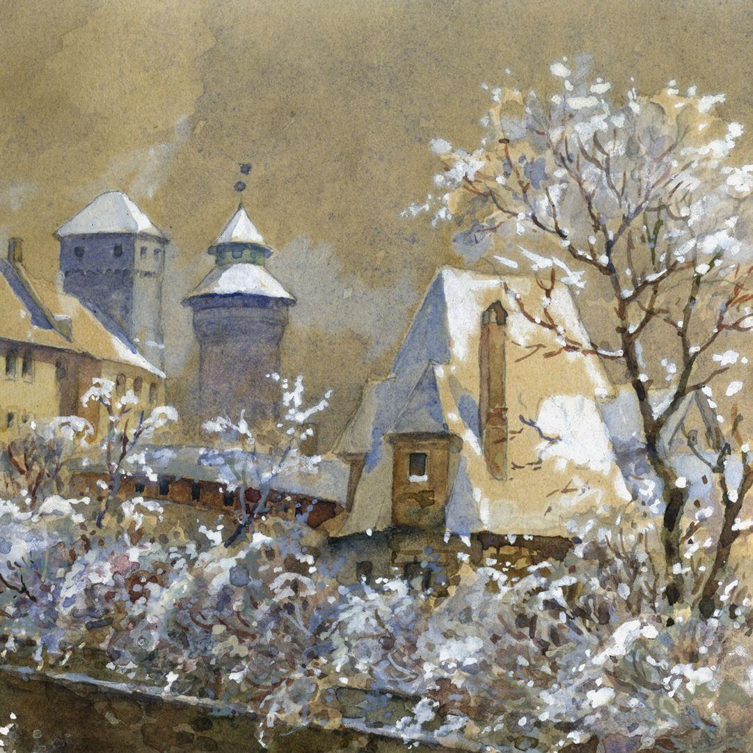 Winterliche Burg Detailansicht mit Heidenturm, Sinwellturm und Stadtmauerturm (Grün M)