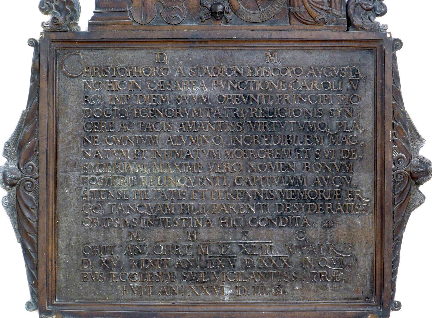 Christoph von Stadion untere Platte mit Inschrift
