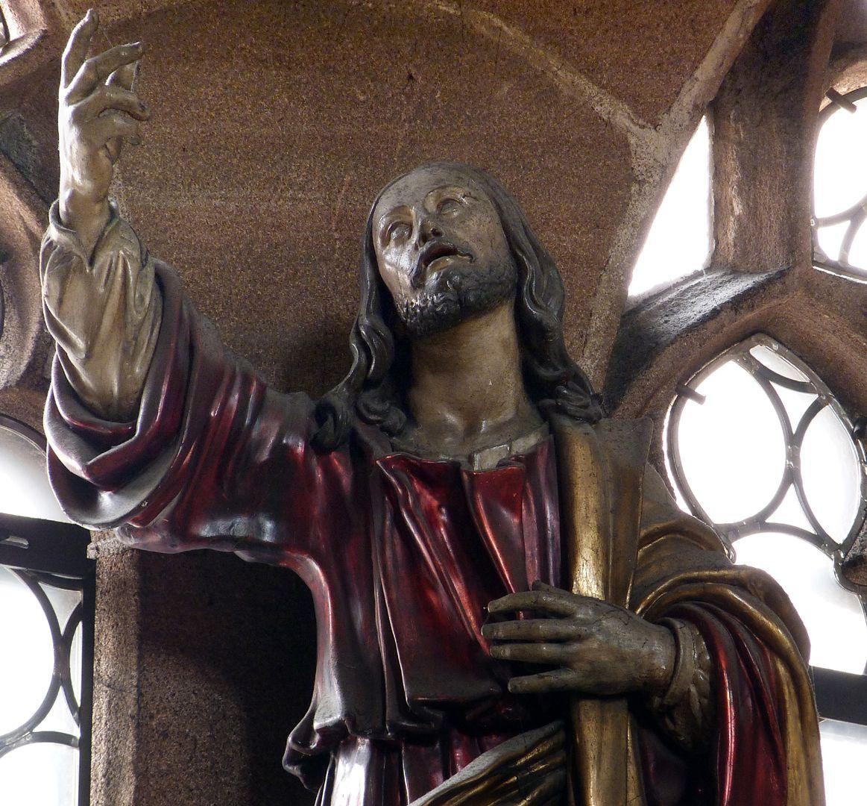 """Christus """"Das Haupt des Auferstandenen (?) ist vom selben Typus wie das Grazer Kruzifix, die auf die Schulter fallenden Haarwellen sind in der selben Weise gegliedert (...) Zitat: Margarete Schuster, Dissertation, Wien 1965"""
