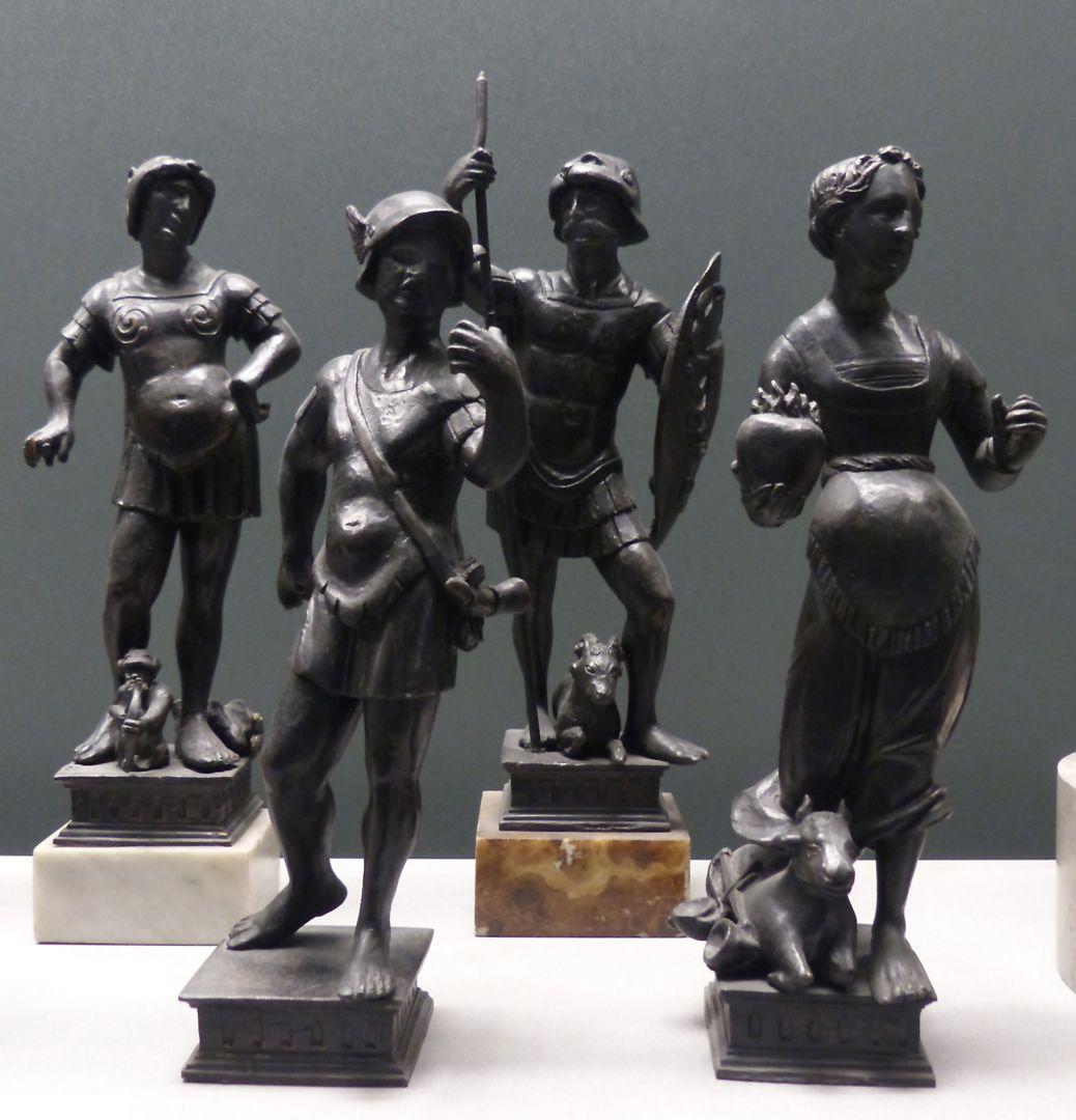 Planetenallegorien (Gruppe von sieben Figurinen) vier Figurinen