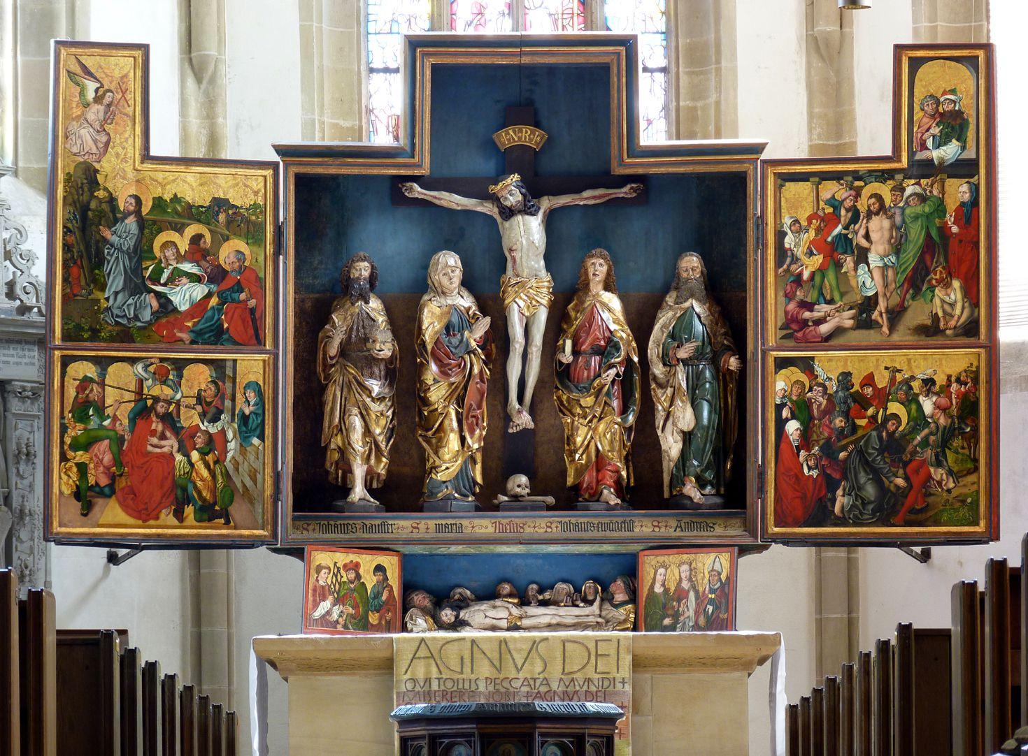 Hochaltar der Johanneskirche (Crailsheim) Gesamtansicht des geöffneten Retabels
