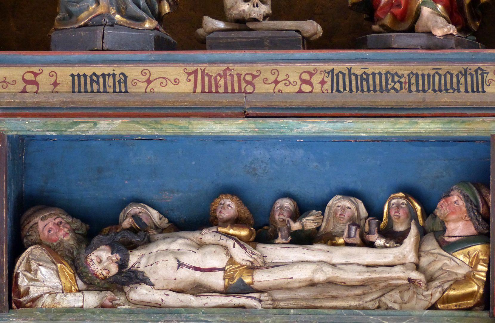 Hochaltar der Johanneskirche (Crailsheim) Predella, Corpus Christi im Kreise der Trauernden