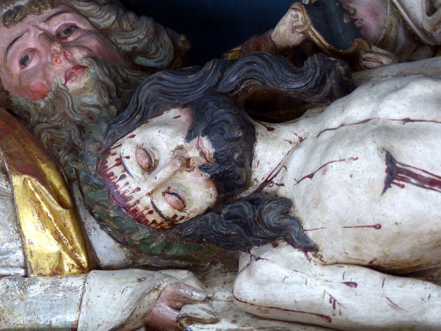 Hochaltar der Johanneskirche (Crailsheim) Predella, Christus und Josef von Arimathäa