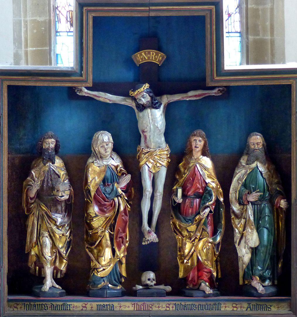 Hochaltar der Johanneskirche (Crailsheim) Schrein von l. nach r.: Johannes d. T., Maria, Jesus, Johannes Evangelist, Andreas
