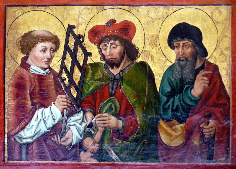 Hochaltar der Johanneskirche (Crailsheim) linker Predellaflügel mit Lorenz, Martin und Jacobus