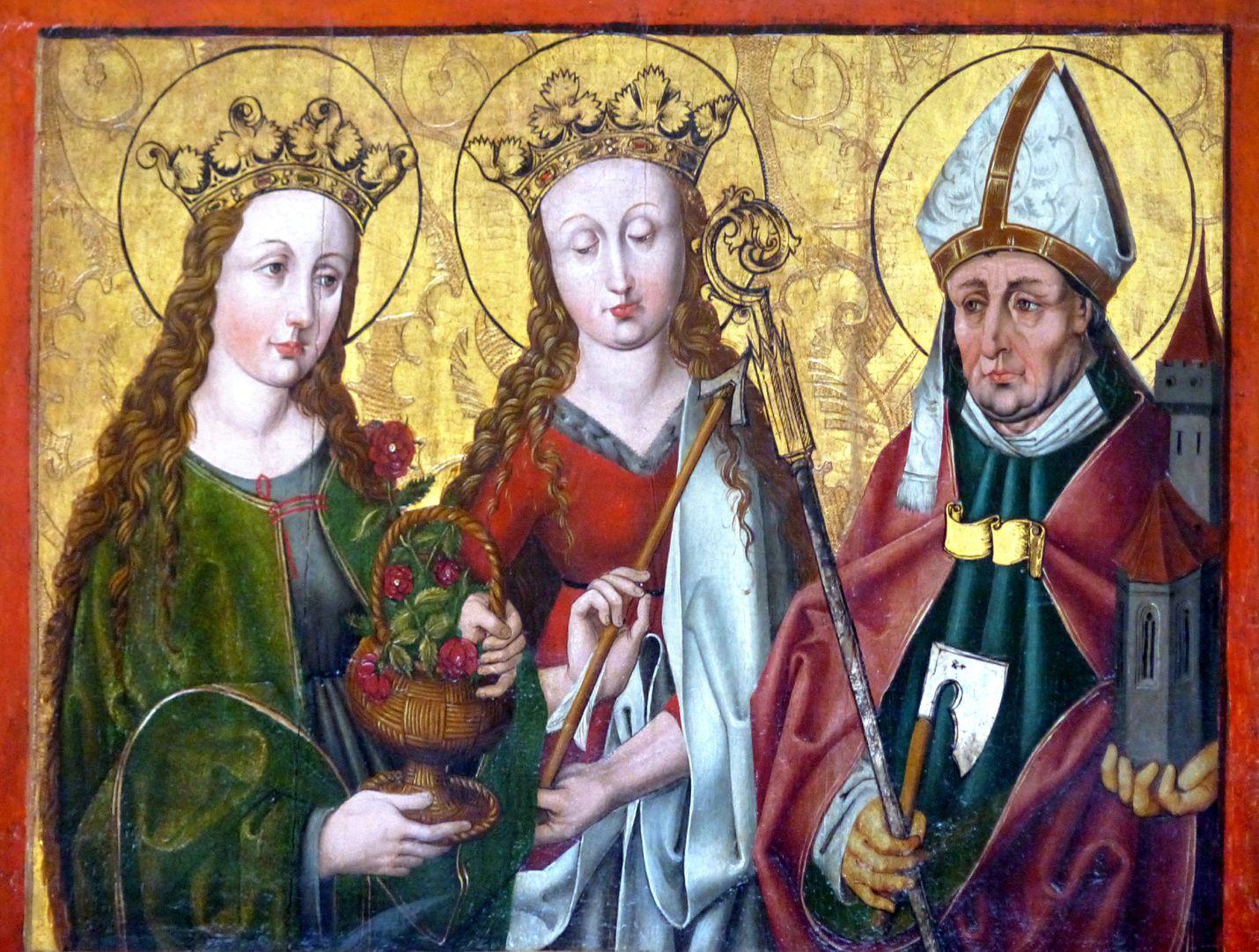 Hochaltar der Johanneskirche (Crailsheim) rechter Predellaflügel mit Dorothea, Ursula und Wolfgang