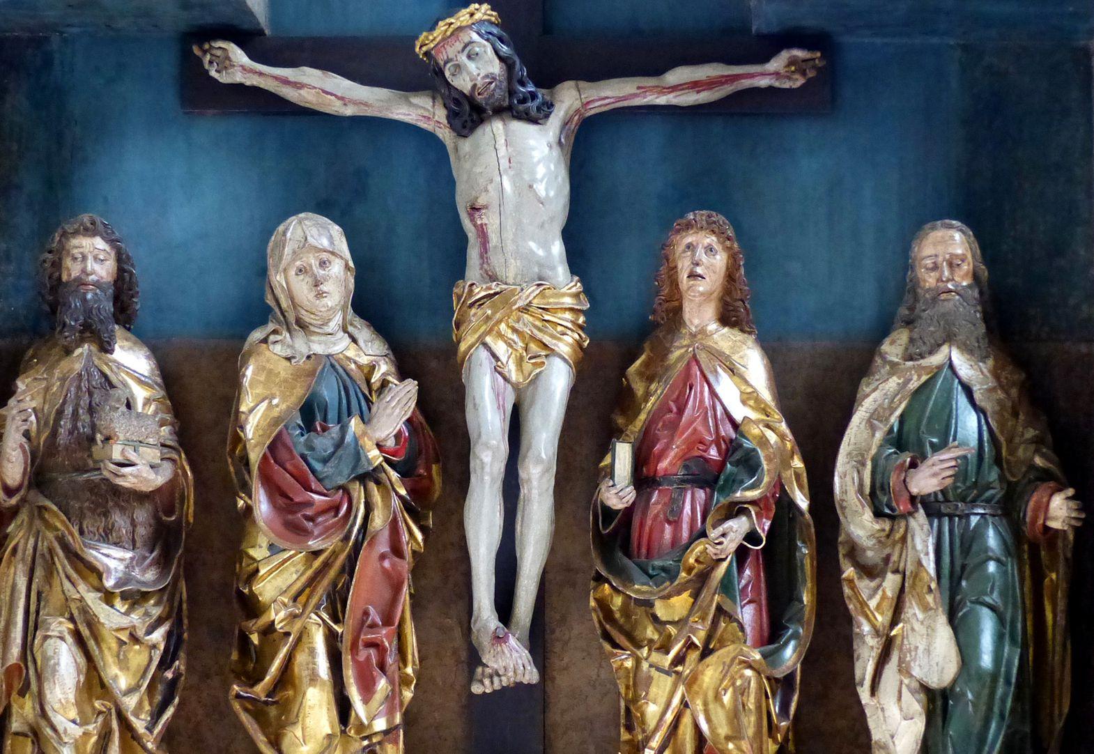 Hochaltar der Johanneskirche (Crailsheim) Schrein, Detail der vollplastischen Figuren
