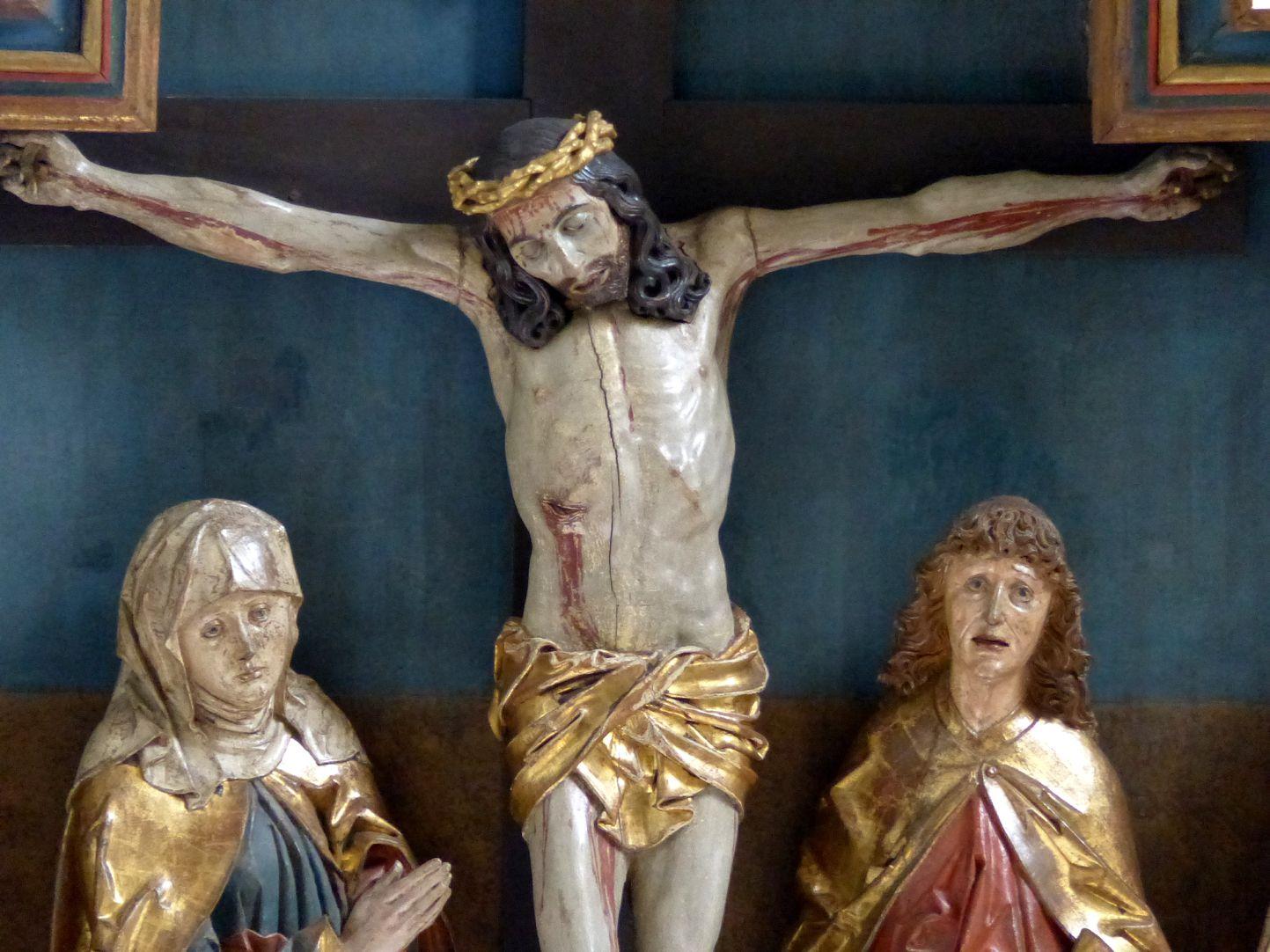Hochaltar der Johanneskirche (Crailsheim) Schrein, Detail Christus zwischen Maria und Johannes
