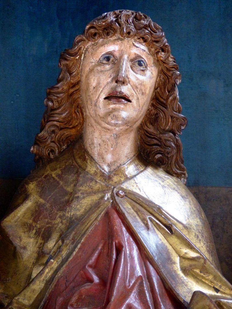 Hochaltar der Johanneskirche (Crailsheim) Schrein, Johannes, Kopf