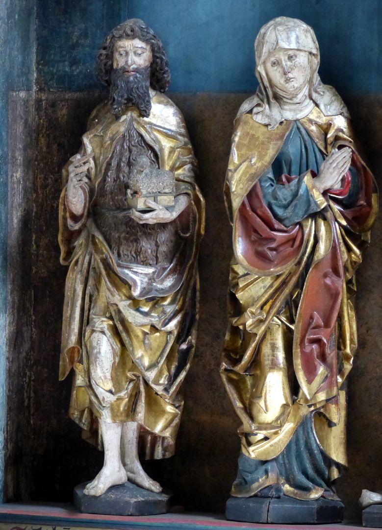Hochaltar der Johanneskirche (Crailsheim) Schrein, Detail, Johannes d.T. und Maria