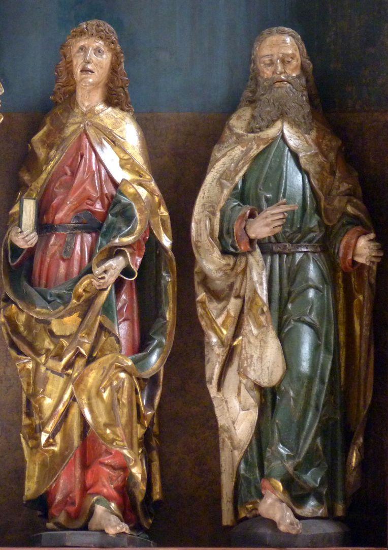 Hochaltar der Johanneskirche (Crailsheim) Schrein, Detail, Johannes und Andreas