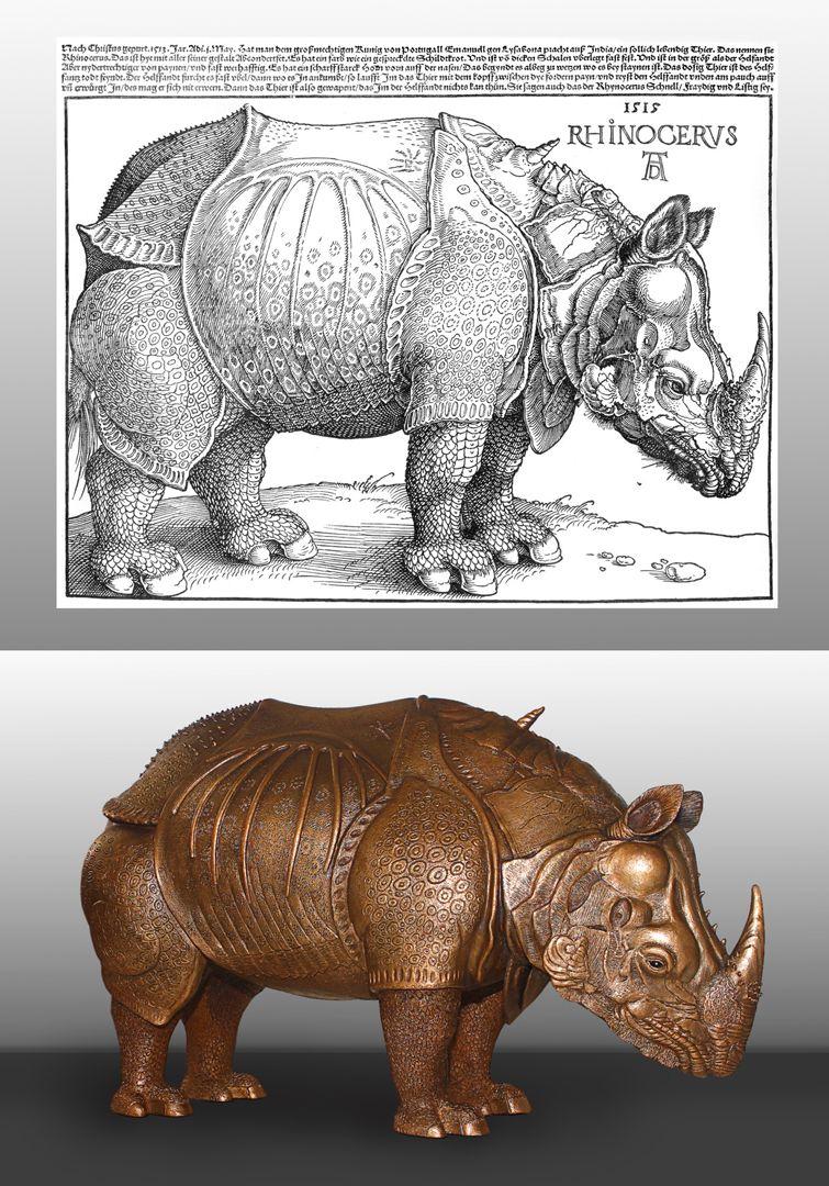 """""""Dürer-Rhinocerus"""" Bildvergleich mit der Vorlage von Dürer aus dem Jahre 1515"""