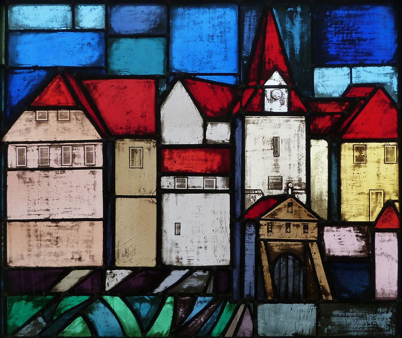 Glasfenster zur Stadtgeschichte Treppenaufgang zum ersten Stock, Wenzelschloß