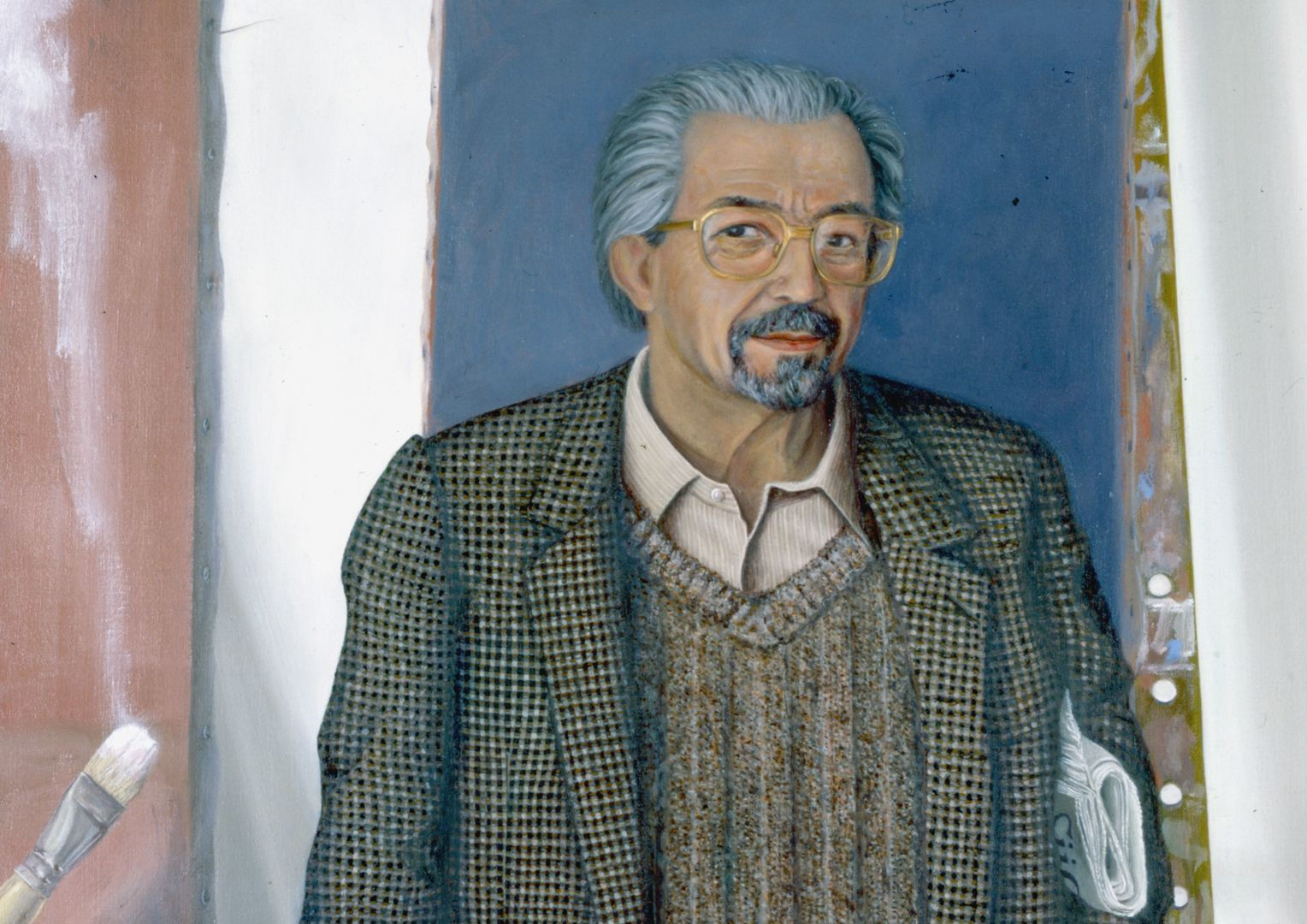 Porträt des Dr. Gerhard Mammel im Atelier Oberkörper